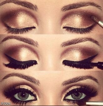 make-up copper gold eye shadow liner lashes mascara gitter shimmer shimmer eyeshadow