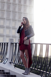 clothes to midnight,blogger,dress,jacket,shoes,high low dress,red dress,black leather jacket,ankle boots,crossbody bag