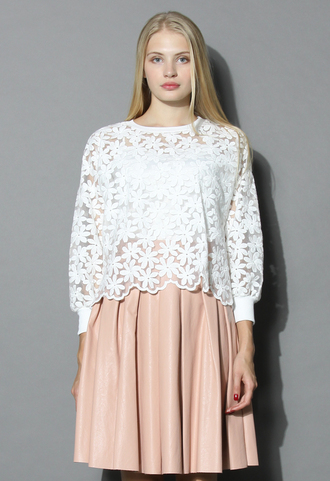 top floral land embroidered mesh top in white chicwish white floral