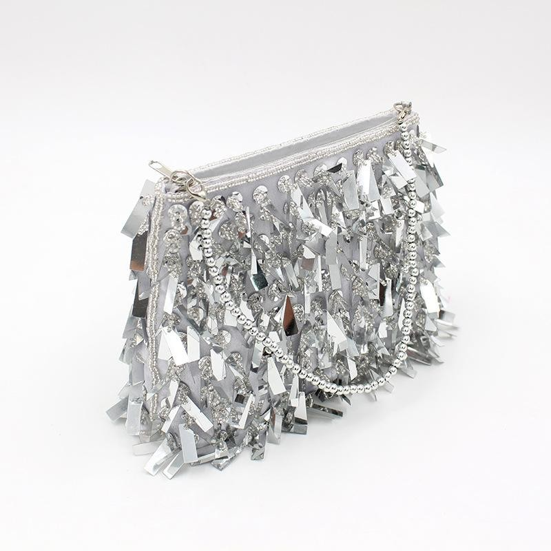 Silver Beaded Sequin Clutch Purse Sparkly Evening Bags with Zip