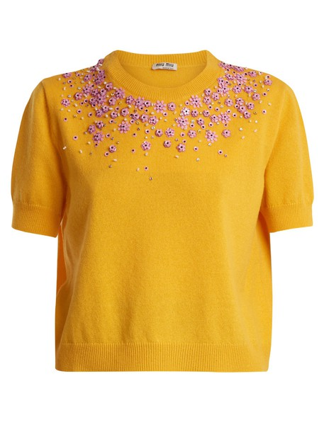 sweater embellished floral yellow