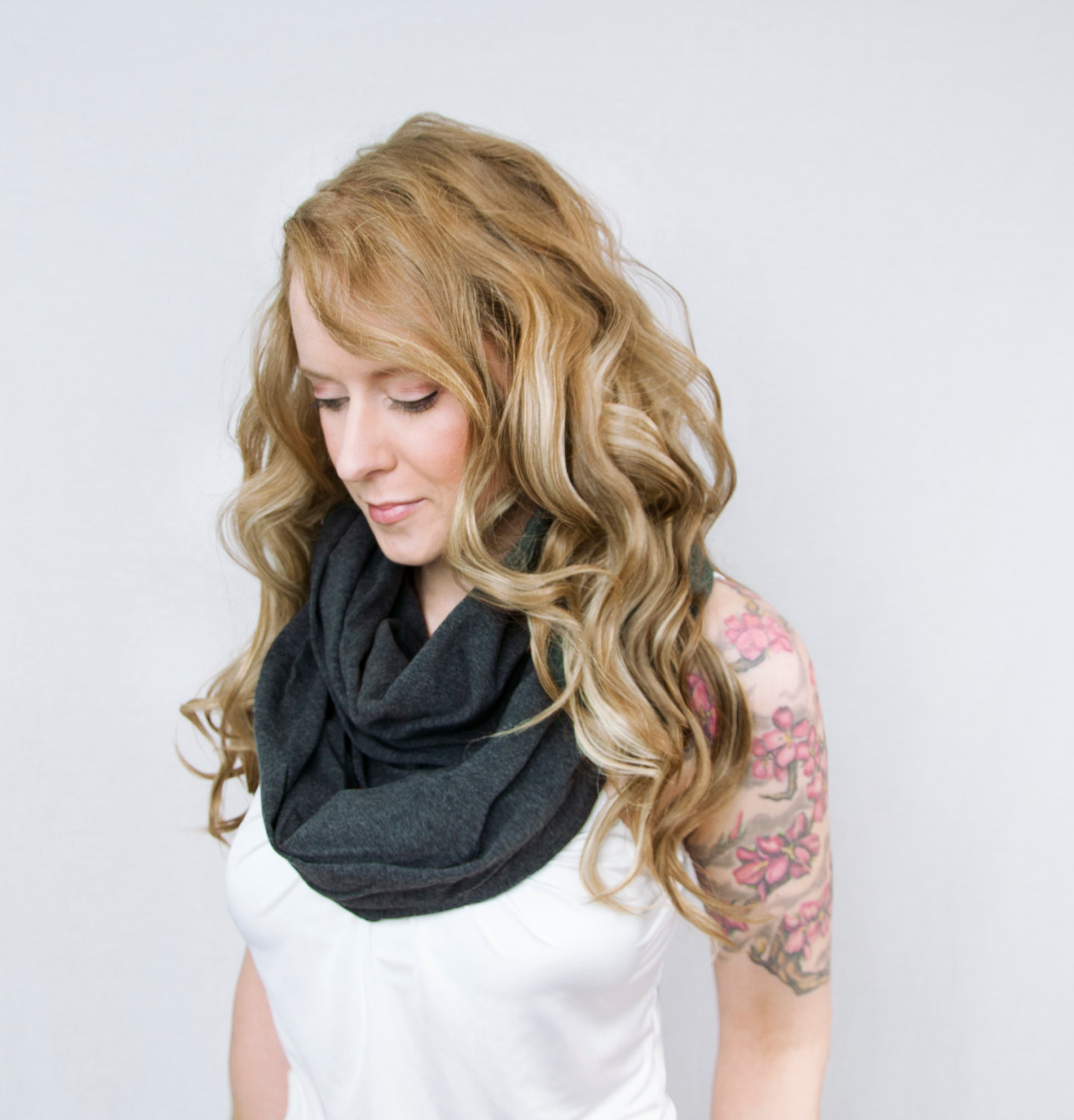 Infinity Scarf Dark Gray, Charcoal Grey Scarf, Jersey GreyScarf, Pewter Scarf, Circle Scarf, Wide Long Women