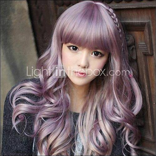 [usd $ 19.99] japanese harajuku zippe mix purple gradient curly lolita cosplay del partido de la peluca