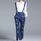 Blue stripes pattern buttons front trousers with braces