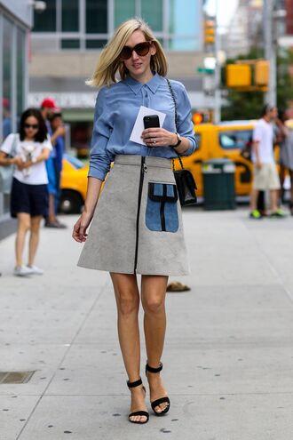 skirt office outfits grey skirt midi skirt shirt blue shirt sandals black sandals bag shoulder bag black bag sunglasses tortoise shell sunglasses