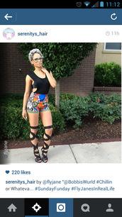 tribal pattern,ethnic pattern,High waisted shorts,shoes,knee length,gladiators,heels,open toe high heels