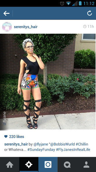 tribal pattern ethnic pattern high waisted shorts shoes gladiator sandals high heels knee length open toe high heels