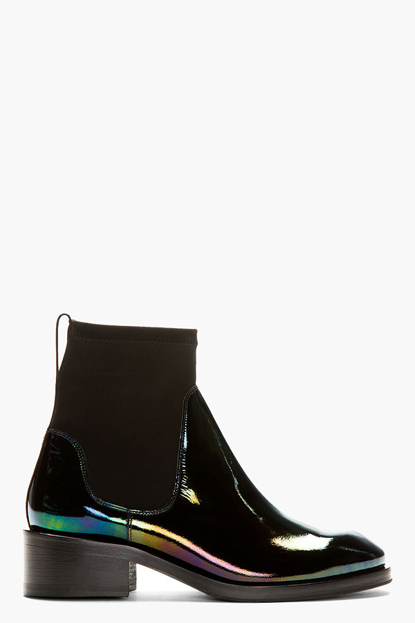 Cool Miu Miu Black Patent Leather Chelsea Boots In Black  Lyst