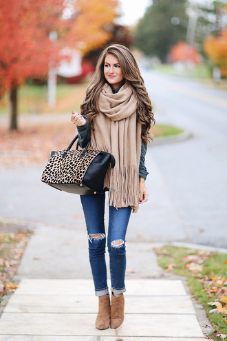 southern curls and pearls blogger jeans shoes bag jewels make-up infinity scarf leopard print ripped jeans skinny jeans ankle boots