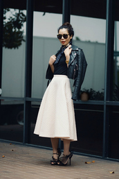 hallie daily,jacket,skirt,top,scarf,shoes,sunglasses,jewels