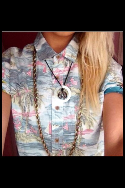 shirt hipster necklace