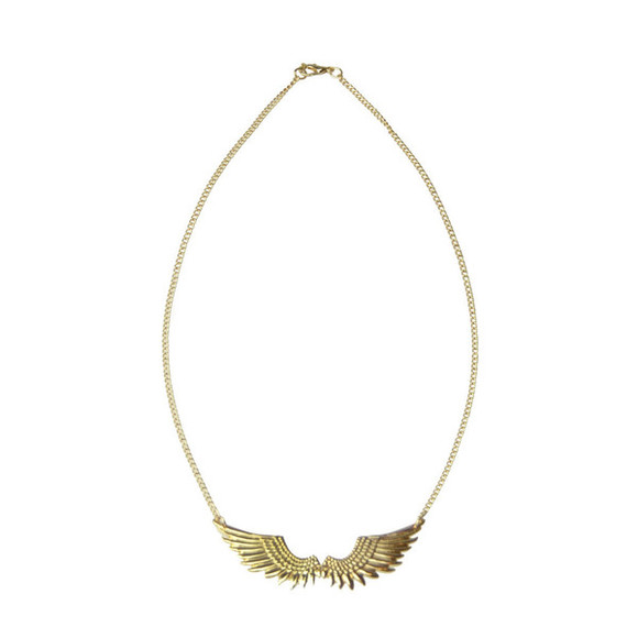 or gold jewels necklace doré wings ailes