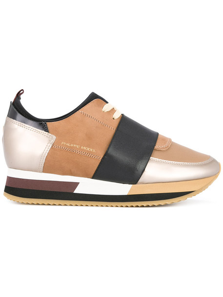 Philippe Model women pretty sneakers leather cotton brown shoes