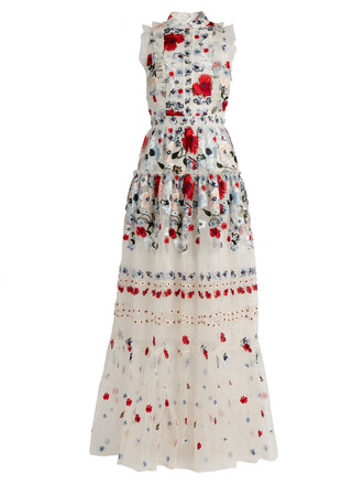 gown embroidered floral silk red dress