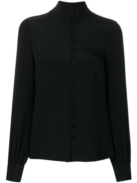 Goat shirt women fleur black silk top