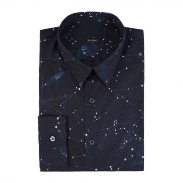 Shirt stars button up men 39 s constellations navy for Mens shirt with stars