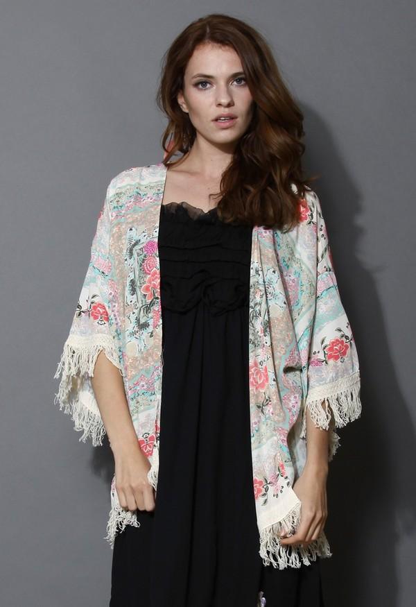 cardigan chicwish boho fringes kimono floral