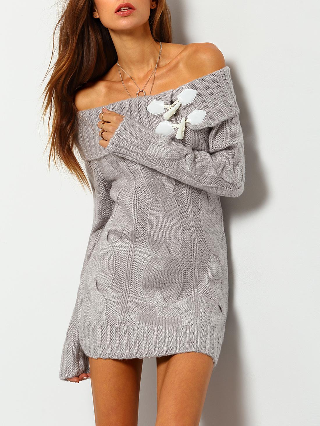 Buckle Off The Shoulder Sweater Dress -SheIn(Sheinside)