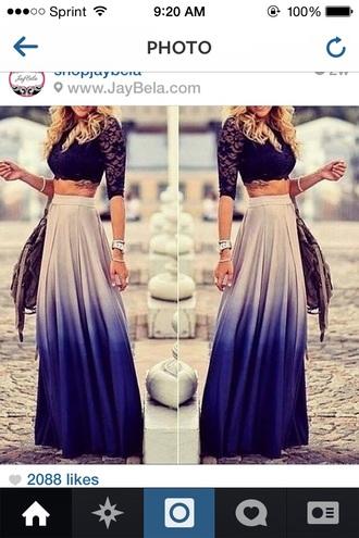 dress lace crop top blue ombré maxi