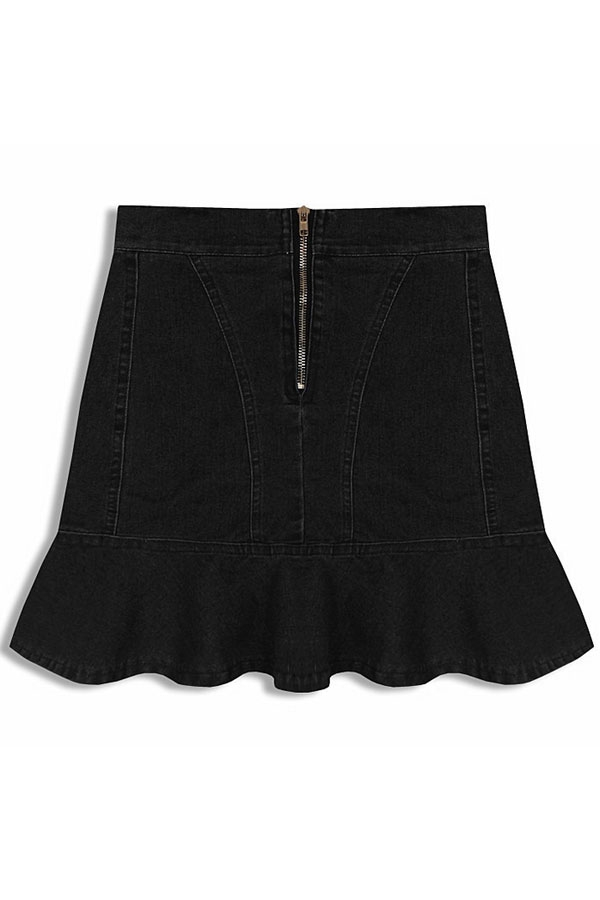 Flounce Denim Skirt - OASAP.com