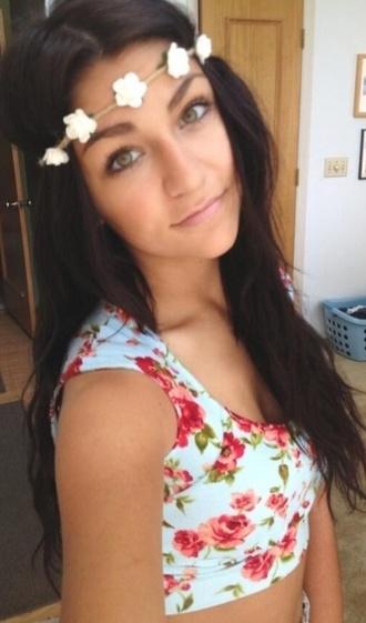 jewels white flowers headband flower headband crop tops floral shirt