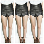 shorts,i4out,leather shorts,clothes,celebrity,fashion,lookbook,High waisted shorts