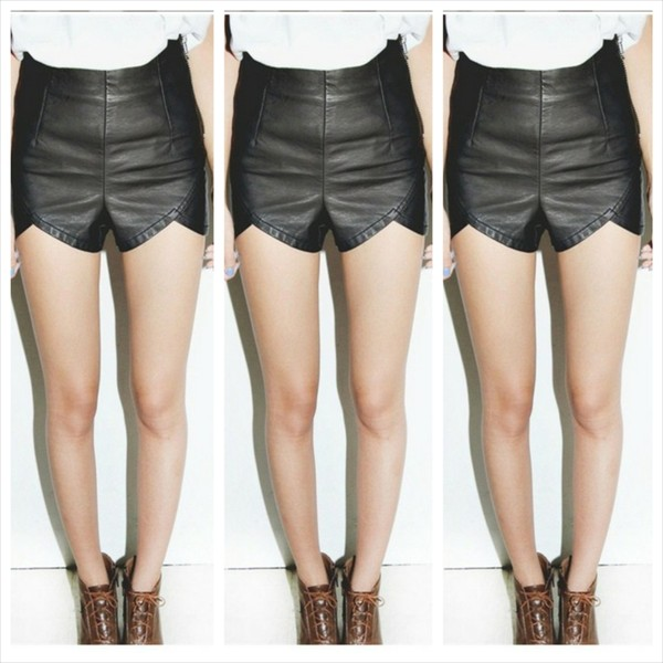 shorts i4out leather shorts clothes clothes celebrity fashion lookbook High waisted shorts
