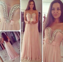 Stunning Crystal Beaded Long Prom  - Juicy Wardrobe