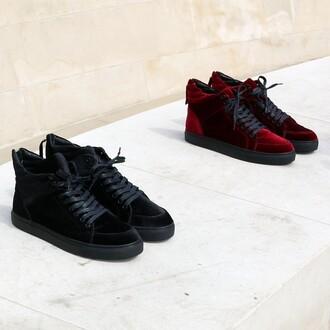 shoes maniere de voir sneakers trainer virtue velvet deep red jet black high top mid runner