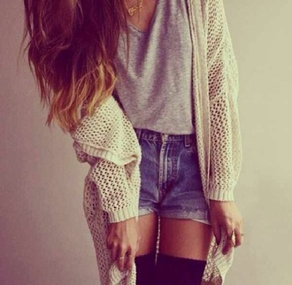 t-shirt sweater shorts jewels jacket grey loose fit
