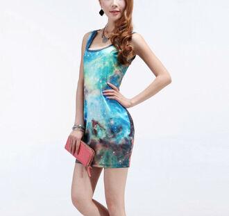 dress galaxy dress galaxy print posh'd boutique bodycon dress