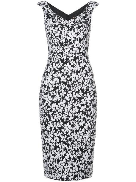 dress pencil dress women spandex floral white cotton print