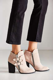 shoes,ankle boots,buckle boots,zip,baby pink,urban outfitters
