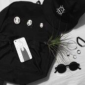 jewels,black,anime,hat,backpack,kawaii,kawaii grunge,kawaii dark,pins,bucket hats,japan,japanese fashion,accessories,sunglasses,soft grunge,grunge