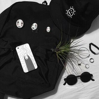 jewels black anime hat backpack kawaii kawaii grunge kawaii dark pins bucket hats japan japanese fashion accessories sunglasses soft grunge grunge