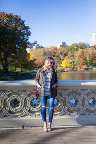 wit&whimsy blogger jacket t-shirt jeans shoes bag fall outfits winter outfits army green jacket shoulder bag
