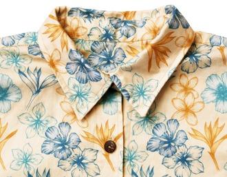 blouse aloha shirt foral hawaiian beige nude neutral coconut button up