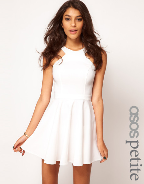Petite Exclusive Skater Dress with Popper Straps and Cut Away ...
