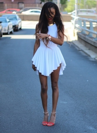 dress clothes white jewels graduated white dress ruffle frill high-low dresses tumblr so cute cute shoes white short gold belt cute dress short pleated cute cut adorable nice formal spring form fitting waterfall dress fashion