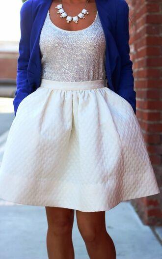 tank top bold blue white skirt sparkley dress skirt white