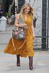 dress,mustard,fall outfits,fall colors,fall dress,boots,purse,hilary duff,streetstyle