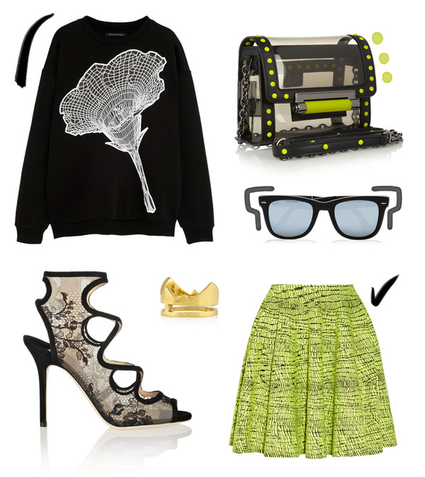 style scrapbook sweater shoes skirt sunglasses bag jewels