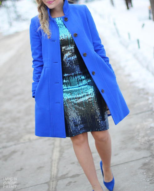 living in color print dress coat shoes jewels
