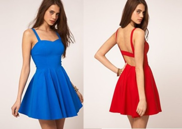 red dress sweetheart neckline low cut back short dress dress