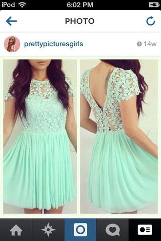 dress mint dress lace top layered skirt blue dress loveit lace dress