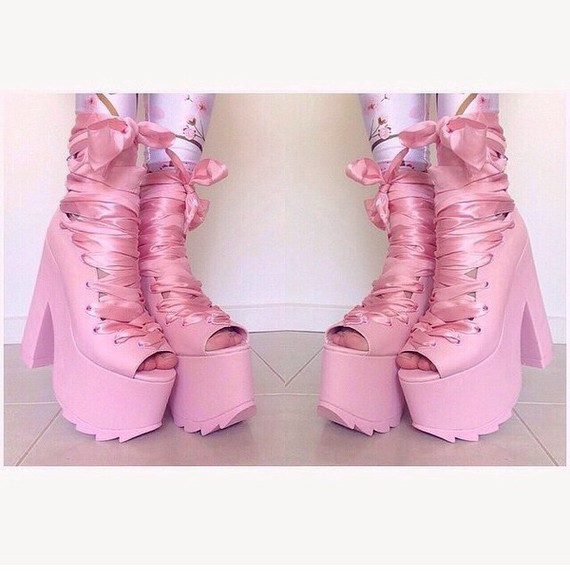 ballerina high heels ribbon
