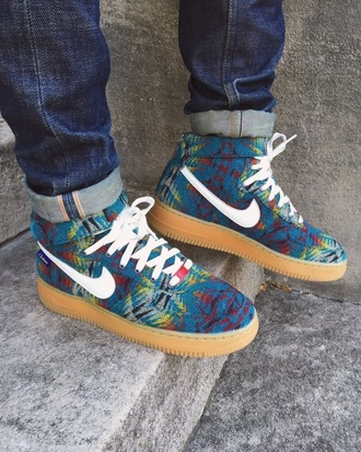 shoes nike airforce1 high blue nike shoes colorful white tribal pattern nike air force 1 custom shoes custom nike nike sneakers sneakers high top sneakers nikes pattern colorul af1 air force 1s