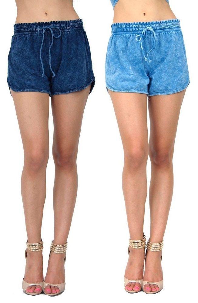 Blue Mineral Acid Wash Women' Drawstring Style Creeek Jogger Lounge Shorts 10946 | eBay