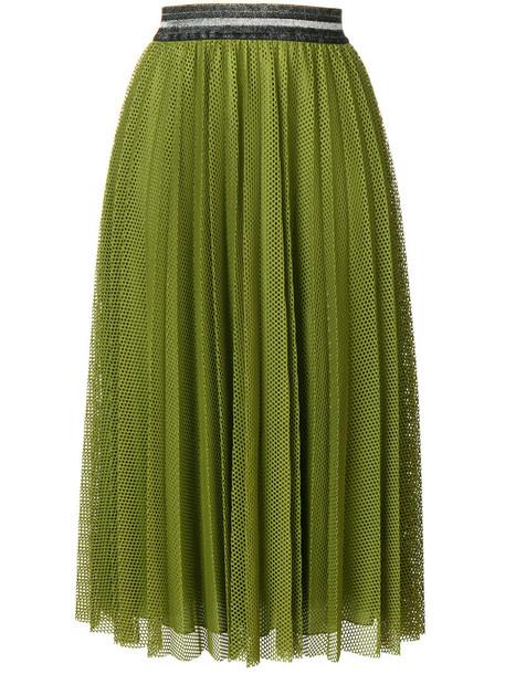 skirt mesh skirt pleated mesh women spandex green