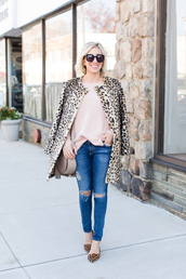 lemon stripes,blogger,sweater,coat,jeans,bag,fall outfits,animal print,nude bag,flats,nude sweater